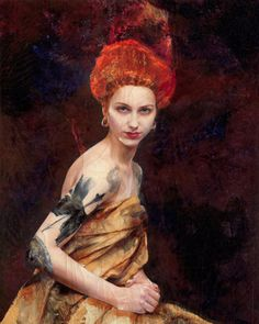 """Lita Cabellut  """"Girl with Tattoo"""", 250 x 200 cm, 2014. From the series """"Corals"""""""