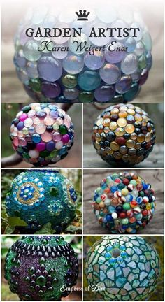Garden Art Orbs with Artist Karen Weigert Enos Tips & Resources is part of Diy garden projects - This gorgeous garden art gallery features the artistic works of Karen Weigert Enos of Seraphinas Artworks Outdoor Crafts, Outdoor Art, Outdoor Projects, Outdoor Gardens, Diy Garden Projects, Garden Crafts, Garden Ideas, Bowling Ball Art, Garden Globes