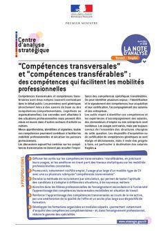 """""""Compétences transversales"""" et """"compétences transférables"""" : des compétences qui facilitent les mobilités professionnelles"""