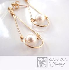 Quality is in the details! Look and feel feminine in these 14k gold filled and Swarovski drop pearl Earrings on your next night on the town, wedding or to make a statement at work!   Gold Filled is co