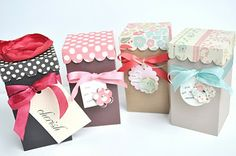 Scalloped lid treat boxes... Made with a Silhouette machine.