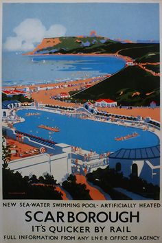 Vintage travel poster produced in 1939 for the London North Eastern Railway to promote travel to the beautiful seaside resort of Scarborough in Posters Uk, Train Posters, Railway Posters, British Travel, British Seaside, England Travel Poster, Information Art, National Railway Museum, Tourism Poster