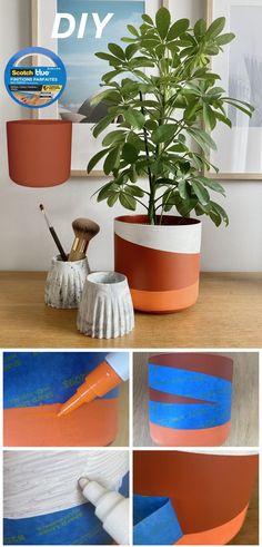 Personnalisez votre pot de fleurs DIY avec ScotchBlue™ Finitions Parfaites Ajoutez de la couleur dans votre intérieur en transformant votre jardinière. Pour cela, délimitez vos motifs avec du ruban de masquage ScotchBlue™ Finitions Parfaites puis colorez votre pot à l'aide de marqueurs peinture multi-supports à base d'eau. Lorsque le séchage est terminé, ôtez le ruban de masquage ScotchBlue™ Finitions Parfaites et plantez un joli arbuste ou une plante d'intérieur #DIY #scotchblue Multi Support, Fleurs Diy, Planter Pots, Creations, Motifs, Inspiration, Masking Tape, Diy Room Decor, Markers
