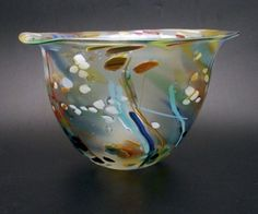 Seagrass bowl - handblown glass by Will Shakspeare at Coombe Gallery