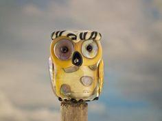 Ferdinand lampwork owl bead sra by DeniseAnnette on Etsy, $23.00