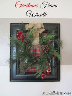 Christmas Frame Wreath - This easy DIY Christmas Frame Wreath will look perfect with your holiday decor! I bought all of my supplies at Hobby…