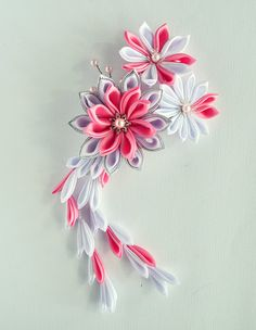 Kanzashi Hair Comb  White and Pink  Ready to by MeanwhileCraft