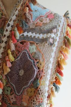 The creatory - close up of a beautifully crocheted Merino wool. There is nothing like a Sophie Digard scarf.