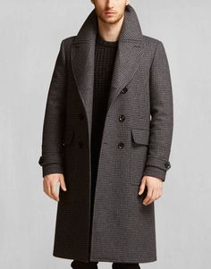 Milford Coat - Black/Charcoal Wool Jackets