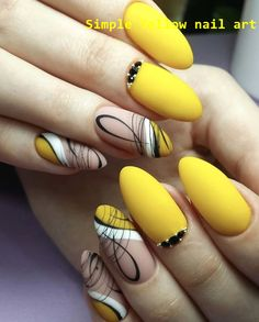 The yellow nails are cute and stylish, catching people's eyes, and as shining as the bright sunshine of the summer. The bright colors bring people a happy mood, and the yellow nails are increasingly favored by fashion people. Yellow Nails Design, Yellow Nail Art, Blue Nail, Fall Nail Designs, Acrylic Nail Designs, Acrylic Nails, Gel Nail Art, Nail Polish, Matte Stiletto Nails