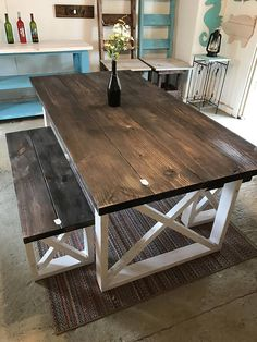 e4798b3eeb0ea4 Rustic Farmhouse Table With Benches with Dark Walnut Top and Dinning Room  Table Rustic, Farmhouse