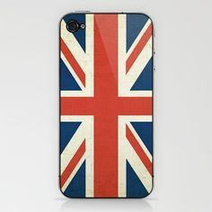 Union Jack - U.K. Flag (Slightly Distressed) iPhone & iPod Skin by Laura Ruth  - $15.00