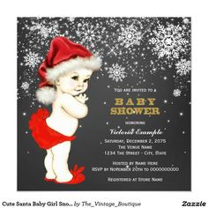 Cute Santa Baby Girl Snowflake Baby Shower 5.25x5.25 Square Paper Invitation Card