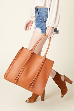 Izzy & Ali Fringed Faux Leather Tote | Forever 21 - 1000201744
