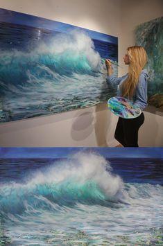 Canvas Art Quotes, Diy Canvas Art, Artist Painting, Figure Painting, Seascape Paintings, Landscape Paintings, Lindsay Rapp, Beach Color Schemes, Canvas Painting Tutorials