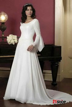 A-line (Princess) Silhouette Long Sleeves Chapel Train Floor Length Wedding Dress