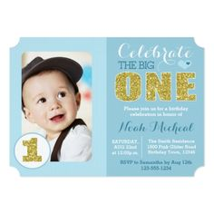 Boy's 1st Birthday Party Blue and Gold First Birthday Party Invitation
