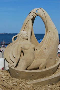 Reaching for the stars ... sand sculpture on Revere Beach