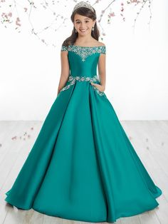 Tiffany Princess 13513 Peacock Off The Shoulder Girl Pageant Dress Pagent Dresses For Kids, Girls Short Dresses, Gowns For Girls, Little Girl Dresses, Flower Girl Dresses, Flower Girls, Princess Dresses For Kids, Prom Dresses, Quince Dresses
