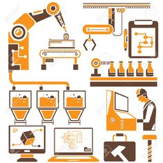 27649721-manufacturing-production-line-icons-orange-theme-Stock-Vector-automation.jpg (1300×1300)