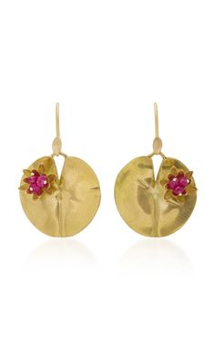Lily Pad 18K Gold and Ruby Earrings  by Annette | Moda Operandi