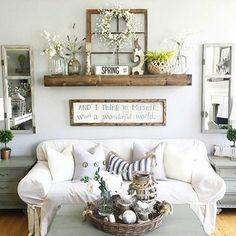 Floating Shelves over Sofa - Angela's Cozy Home