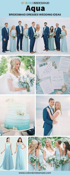 24 Ideas For Bridal Party Colors Blue Bridesmaid Dresses Tiffany Blue Bridesmaid Dresses, Aqua Bridesmaids, Short Bridesmaid Dresses, Wedding Bridesmaids, Wedding Bouquets, Wedding Dresses, Aqua Wedding, Wedding Colors, Dream Wedding