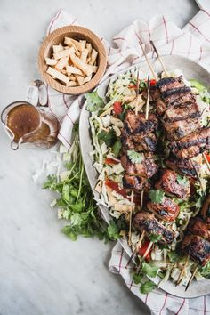 ... hoisin marinated pork kabab asian chopped salad with hoisin marinated