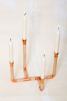 Kerzenständer - kerzenhalter/kerzenständer { holz & kupfer } - ein Designerstück von studiohammel bei DaWanda