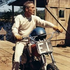 """Some men give up their designs when they have almost reached the goal; While others, on the contrary, obtain a victory by exerting, at the last moment, more vigorous efforts than ever before."" - Herodotus.  Sunday Morning Ride...  1971, Paul Newman on his dirt bike on the set of ""Sometimes a Great Notion""."