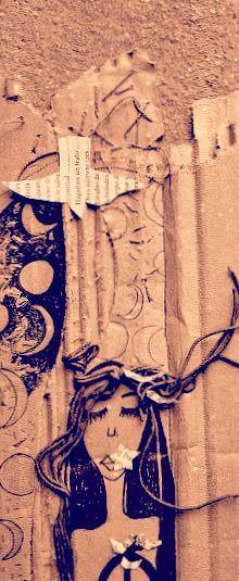 Collage Cartón/alambre/papel/bordado/tinta