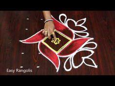 Small, Diwali special rangolis with 5 dots //Diwali 2019 kolams Rangoli Designs Latest, Rangoli Designs Flower, Small Rangoli Design, Rangoli Designs With Dots, Rangoli Designs Images, Rangoli Designs Diwali, Diwali Rangoli, Flower Rangoli, Rangoli With Dots