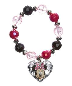 Cute Disney jewelry on SALE $5.99 today - Great birthday gifts, or party favors & stocking stuffers  Minnie Mouse Beaded Charm Bracelet on #zulily! #zulilyfinds
