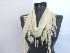 Cream+scarves+Fringed+Guipure+Scarf++Fabric+Lace+by+ScarfsSale,+$15.00