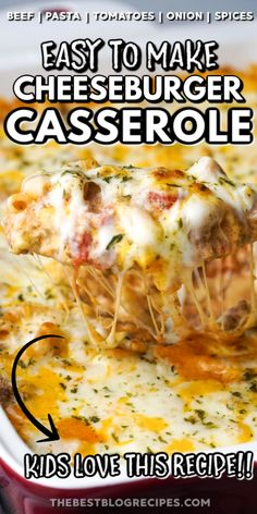 Cheeseburger Casserole is the perfect weeknight dinner! With ingredients like beef, onions, tomatoes, and garlic its sure to become a new family favorite! Beef Casserole Recipes, Ground Beef Casserole, Easy Casserole Dishes, Cheeseburger Casserole, Hamburger Casserole, Chicken Casserole, Hamburger Dishes, Easy Hamburger Meat Recipes, Chicken Recipes