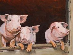 "Daily Paintworks - ""Little Pigs"" - Original Fine Art for Sale - © Peter Bain"