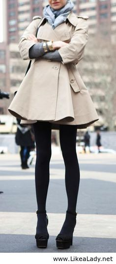 Beautiful trench and love black tights