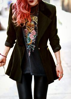 Le Happy // jacket, Guns N Roses tee. // Perfect.