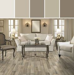 Mushroomy neutrals:  Resilient Carriage House Flooring Living Room Designed By Shaw Floors via Stylyze