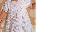 vejam a receita e o gráfico para fazer vestido de crochê para meninas