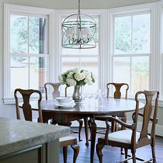 window molding. chandelier too from bhg.com
