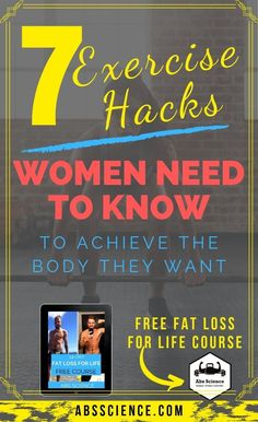7 WOMEN EXERCISE HACKS AND TIPS TO LOSE WEIGHT FASTER. Every single day that I'm in the gym I see some girl who is doing the same workout protocol as her boyfriend is. Which is SOoo pitty… Some physiological differences BEG for different training protocols for women to get the best out of their bodies. In this article, you will learn 7 women exercise hacks to lose weight faster.  Want to change your body for life? REPIN & Sign up for my FREE 14-DAY FAT LOSS FOR LIFE COURSE.