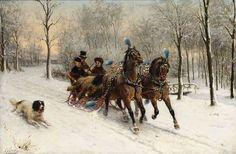 Um passeio na neve Otto Eerelman (Holanda 1839-1926) óleo sobre tela, 60 x 90 cm