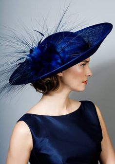 Rachel Trevor Morgan Millinery: Fine straw picture hat with feather flowers & peacock