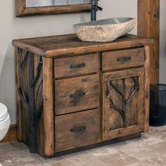 """Woodland Forest Log Vanity 24"""" - 42"""""""