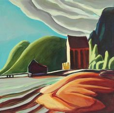 Daily Painting, Ice House, after Lawren Harris, Group of Seven Painter, painting by artist Carolee Clark Group Of Seven Artists, Group Of Seven Paintings, Impressionist Landscape, Landscape Art, Landscape Paintings, Landscapes, Tom Thomson, Emily Carr, Canadian Artists