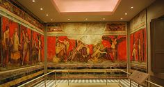 Watercolor reproductions of the Villa of the Mysteries murals from ancient Pompeii in the Upjohn Wing- Kelsey Museum of Achaeology