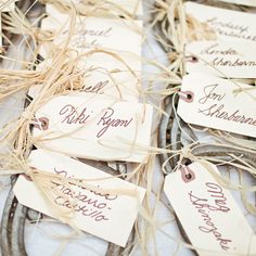 "Brides.com: . Guests found their seats with calligraphed escort cards tied to horseshoes with raffia. ""Everyone took their horseshoes home as gifts,"" says Jessica. ""We also gave out jars of Dilly beans [a.k.a. pickled green beans] as favors—they're our favorite snacks ever."""