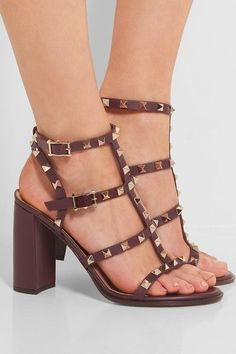 Heel measures approximately 95mm/ 4 inches Burgundy leather Buckle-fastening ankle strap Made in Italy