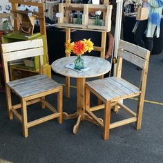Little bistro style table and chairs.
